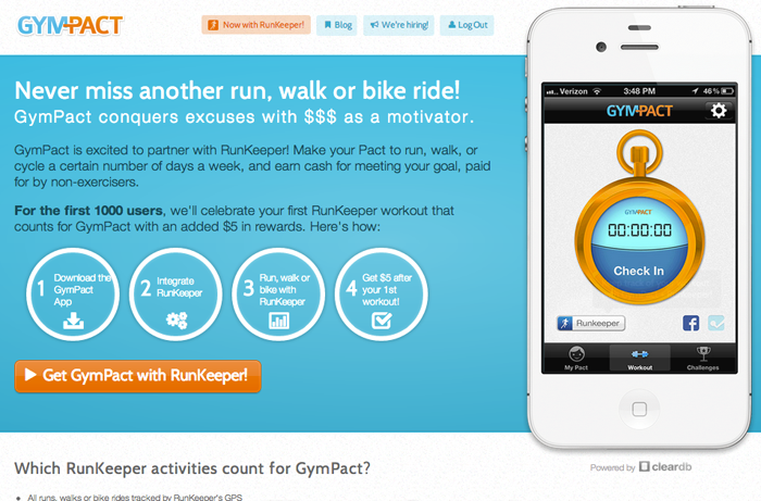 gympact landing page for RunKeeper